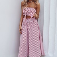 Mind Blown Knot Striped Two Piece Set