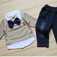 Baby boy blue! Two piece outfit jeans sweater collard shirt and bow tie