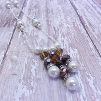 White Pearl and Brown and Gold Swarovski Crystal Bead Necklace - Glass Pearls, White, Tan, Silver, Rhinestone, Beadwork