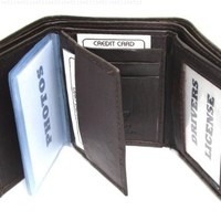 Mens Chocolate Brown Leather Wallet Lamb Trifold 731B