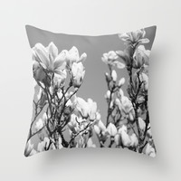 Black and White Magnolia Throw Pillow by Pati Designs