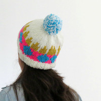 Pom Pom Beanie, Chunky Hat, Knitted Beanie, Triangle Pattern, Colorful Knit Hat, Womens Hat, Fair Isle Beanie, Winter Hat, Fall Fashion Teen