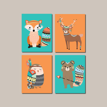 Tribal Nursery Wall Art Woodland Nursery Decor Tribal Boy Nursery Decor Tribal Woodland Animals Tribal Baby Decor Set Of 4 Prints Or Canvas