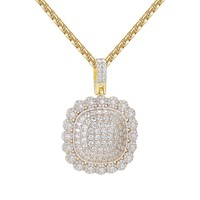 "Bling Custom Medallion Circle Solitaire 14kGold Finish Hip Hop Pendant with 24"" Box Chain"