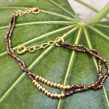 Boho beaded bracelet. Vintage antique cut steel seed beads. Two strands bracelet. Handmade Jewelry. Friendship Bracelet.