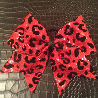 Red Sequins Cheetah Cheer Bow
