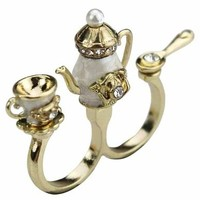 Teapot Double Finger Ring