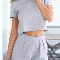 Grey Short Sleeve Crop Top With Pleated Mini Shorts