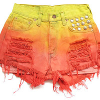 Levi ombre dip dye high waist shorts XS by deathdiscolovesyou
