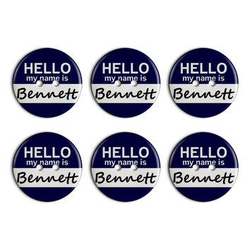 Bennett Hello My Name Is Plastic Resin Button Set of 6