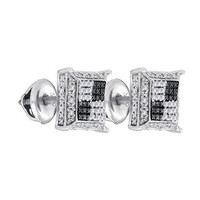 925 Sterling Silver White 0.12CT-DIAMOND MICRO-PAVE EARRINGS