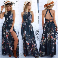 Women's Flirty Navy Floral Print Sleeveless Flowy Maxi Dress with Front Slit