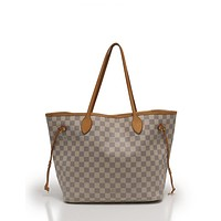 Tagre™ LOUIS VUITTON Neverfull MM Tote Bag Damier Azur white