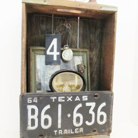 Vintage Wood Crate with Black Texas License Plate Repurposed Into Wall Shelf/Cubby