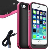 Slickblue (TM) 2500 mAh Battery BackUp Power Bank Hard Back Case For iPhone 5 / 5S (iOS 7 or above Compatible)- Pink