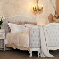 Eloquence Collection Sophia Tufted Bed in Old Cream