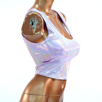 Light Purple Holographic  Metallic Tank Style Scoop Neck Crop Top -E8181