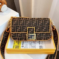 Onewel Fendi FEND1 canvas  messenger  bag retro handbag crossbody bag Baguette Baguette clamshell design Coffee Yellow line