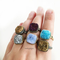 Druzy Ring Gold Blue Stone Ring Geode Ring Gemstone Drusy Mineral Ring Rustic Statement Crystal Raw Quartz Agate Ring C1