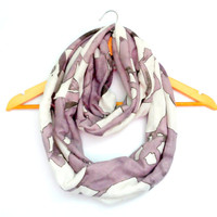 Pastel Purple and White Floral Jersey Knit Infinity Scarf- Double Wrap, Long, Different Ways to Wear, Trendy and Modern
