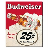 Budweiser Vintage Ad - 25 cents - Canvas 18 x 22 Inch