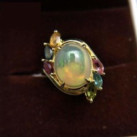 Colorful Ethiopian Opal oval 10*12mm with Tourmaline Gemstone Ring