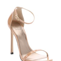 Nude Patent Leather Nudist Aniline Ankle Strap Sandals