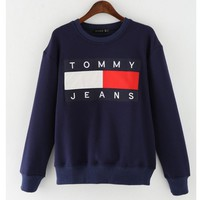 TOMMY print long sleeve warm sweater cotton tops