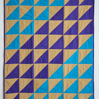 Shifting Blue Quilt - modern geometric abstract