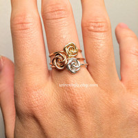 Rose Ring Rose Gold ~14K Gold-Filled /Sterling Silver Wire ~Flower Girl /Pink /Love /Girlfriend Gift /Bridesmaids /Graduation /Anniversary