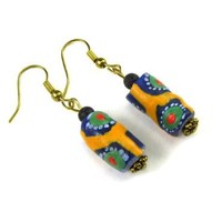 African Sand Cast Beads Dangle Earrings in Yellow, Green, and Blue with Volcanic Lava Bead