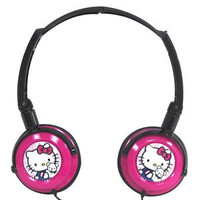 Hello Kitty Foldable DJ Style Headphones Black and Pink 11609-HK Sealed Package