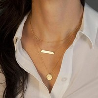 Shiny New Arrival Gift Jewelry Stylish Geometric Metal Chain Necklace [8026347399]