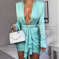 The new hot sell sexy fashion deep V belt bag hip sexy temperament dress