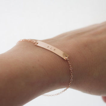 Monogram or Initials Personalized Bar Bracelet Nameplate / Customized Hand Stamped Sterling Silver, 14 Kt Gold Fill or Rose Gold