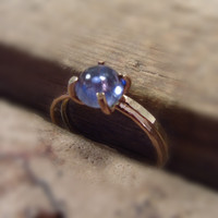 Claw Ring Pink Gold Filled with Iolite Set of 2