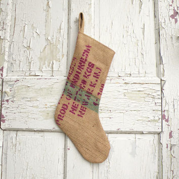 Christmas Stocking, Recycled Burlap Coffee Bags, Rustic, Modern, Industrial, Farmhouse