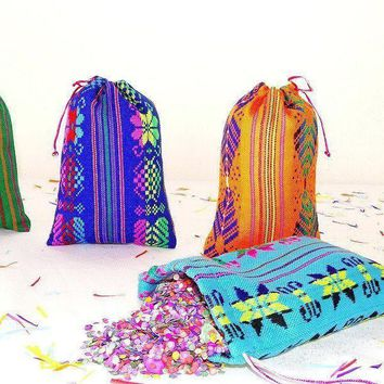 Fiesta Party favor bags 5 ct, Mexican Gift bags for weddings/parties - Confetti included
