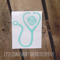 Doctor/ Nurse/ RN/ BSN/ Medical Stethoscope Monogram Decal