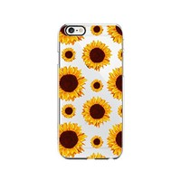 Sunflower Pattern Transparent Silicone Plastic Phone Case for iphone 7 _ LOKIshop (iphone 7)