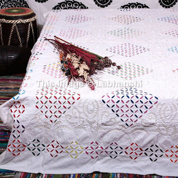 Handmade Applique Kantha Work Bedspread Quilt, Indian Cotton Bed Cover, White Cutwork with Fine Hand Kantha Work, Queen Size Bedding