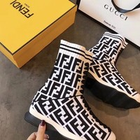 Fendi White Leather Sock Boot
