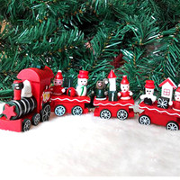 Christmas Little Wooden Train Decor Ornaments Gifts for Kids