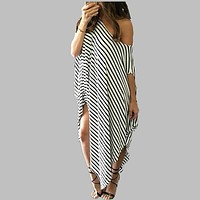 fhotwinter19 new product hot sale striped strapless sexy irregular dress