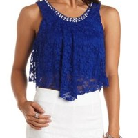 Embellished Swing Lace Crop Top by Charlotte Russe
