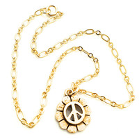 Peace Sign Anklet, Peace Sign Jewelry, Gold Peace, Gold Chain Anklet, Flower Power, Hippie Anklet, Gold Ankle Bracelet, Minimalist Jewelry