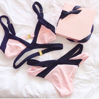 Sexy Pink Bandage Bikini Sets Swimsuit
