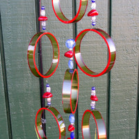 Recycled wine bottle wind chime, Juniper wood, Red circle glass wind chime, Yard decor, yard art