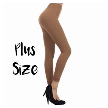 No Peek-a-Boo See Through Plus Size Taupe Leggings