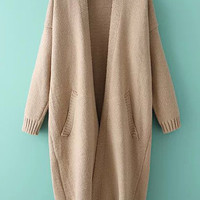 Coffee Colored Knitted Loose Fitting Cardigan